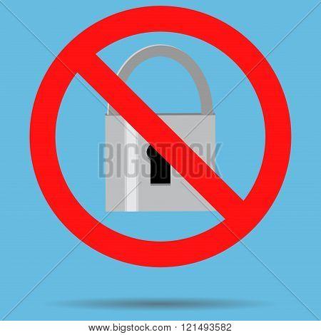 Ban Lock Padlock Sign Icon