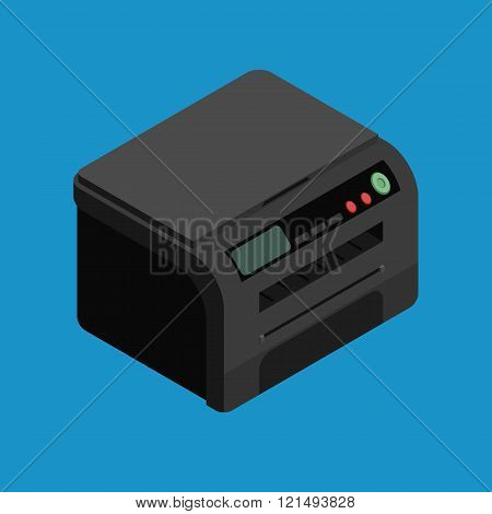 Isometric vector laser printer icon. Digital machine illustration . Modern black office printer.