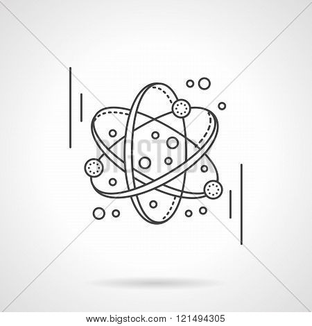 Molecule model flat line design vector icon