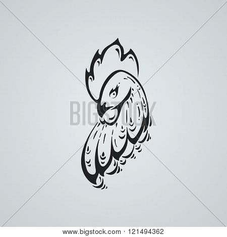 Rooster tatto ilustration. Stylized head of a cock.