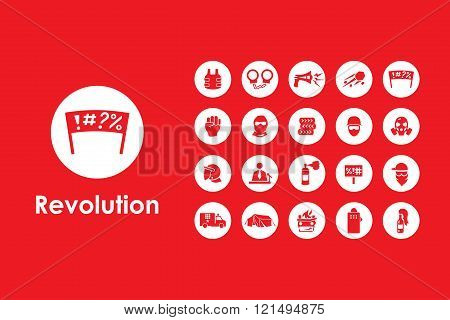 Set of revolution simple icons