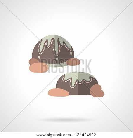 Chocolates flat color design vector icon