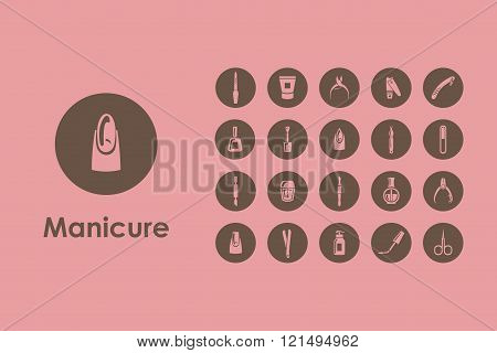 Set of manicure simple icons