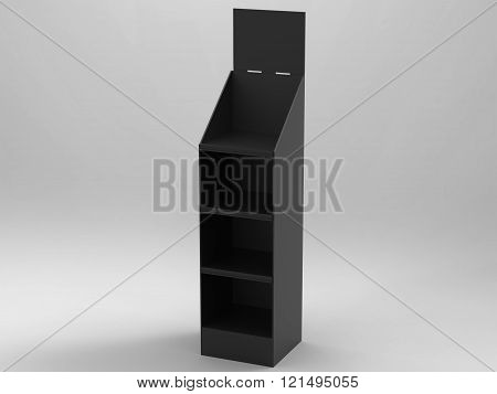 Promotional Store Shelf Stand 3D Render