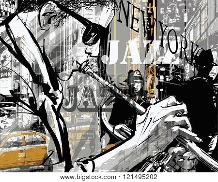 Jazz trumpet player in a street of New york - Vector illustration