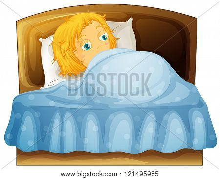 Girl feeling sleepy in bed illustration