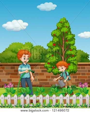 Father and son watering plants in the garden illustration
