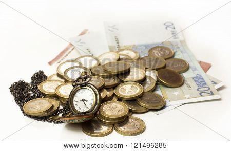 Vintage Style Chain Watch With Euro Money On White Background