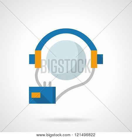 Audio courses flat color design vector icon