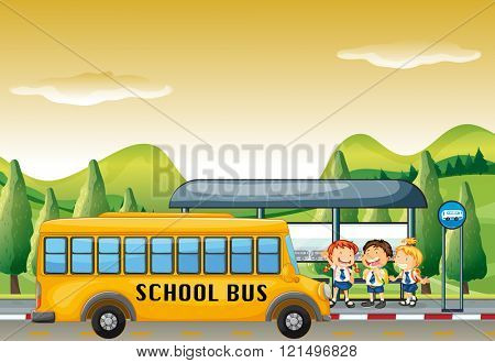 Children getting on school bus at bus stop illustration