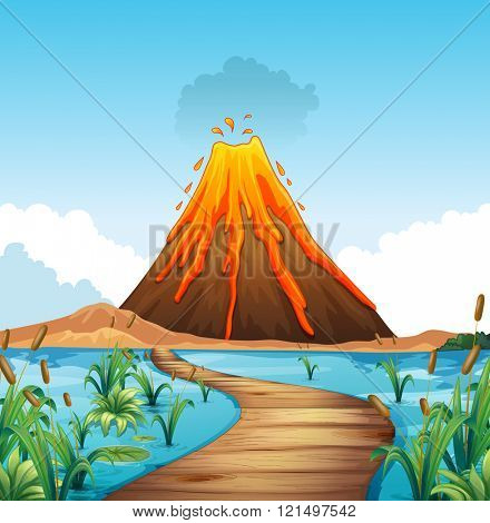 Nature scene with volcano eruption by the lake illustration