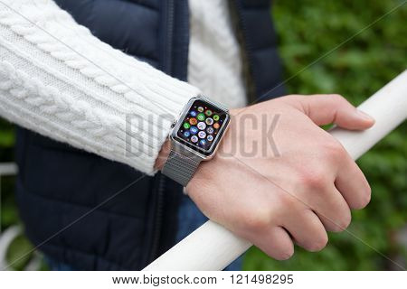 Man Hand And Apple Watch With App In The Screen