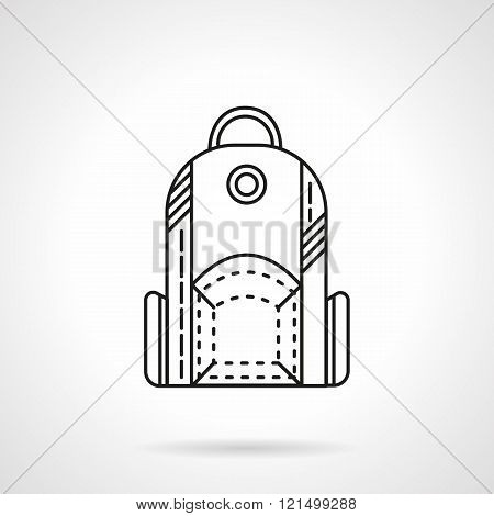 Flat line design backpack  vector icon