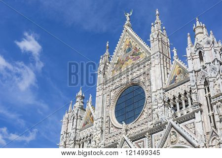 Siena Cathedral Is A Medieval Church Built In Romanesque And Gothic Style, Tuscany, Italy.