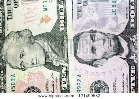 dollar banknotes 5 and 10 with images of presidents