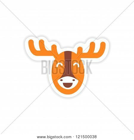 paper sticker Canadian moose on white background
