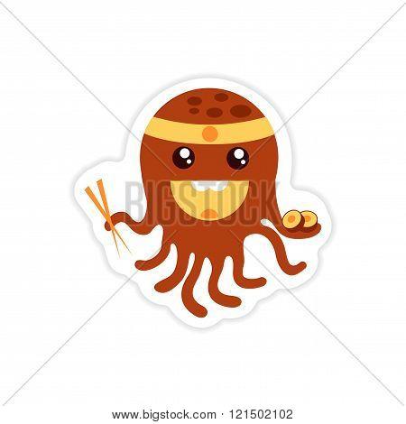 stylish paper sticker on white background octopus chef