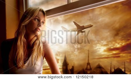 young woman looking airplane at window