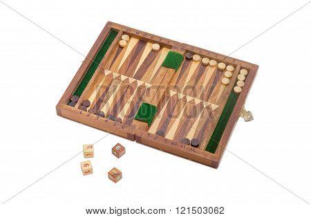 Miniature Travelling Backgammon Set On A Light Background