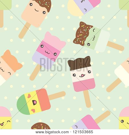 Seamless pattern of cute kawaii style ice cream bars.