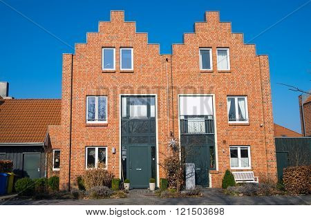 New duplex houses made with red bricks seen in Germany
