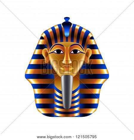Tutankhamuns Mask Isolated On White Vector
