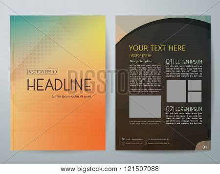 Vector Magazine,modern Flyers Brochure,cover,annual Report,design Templates,With Low Poly Background