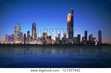 Beautiful Kuwait Cityscape during blue hour time