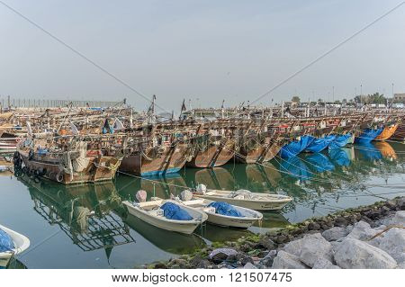 Fishing Boat, Kuwait - February 27, 2016 : Fishing boat parked near the fish market next to Kuwait City Area