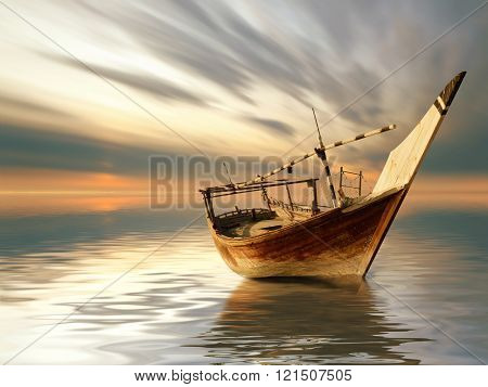 An Old Arabian Fishing Boat During sunset