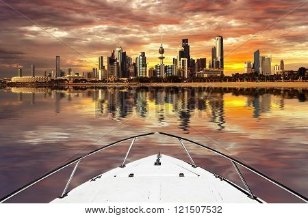 kuwait city landscape from a speed boat view