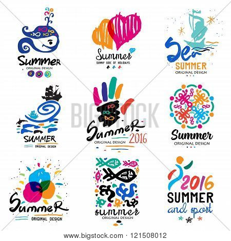 Summer vacation logo.  Tropical Paradise, weekend tour, beach vacation design elements. Adventure, sightseeing labels. Hand drawn elements for summer logo