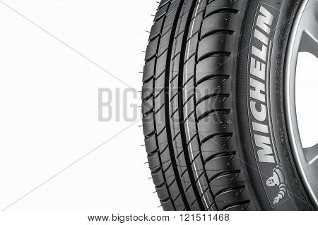 MOSCOW RUSSIA - MARCH 4 2016: Winter car tyre Primacy 3 205/55 R16 ZP (RunFlat) brand of the company Michelin isolated on white background . Michelin is a famous tyre manufacturer based in France.
