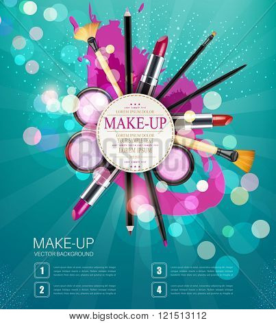 vector background with cosmetics and make-up objects and place for text. (blue flyer template)