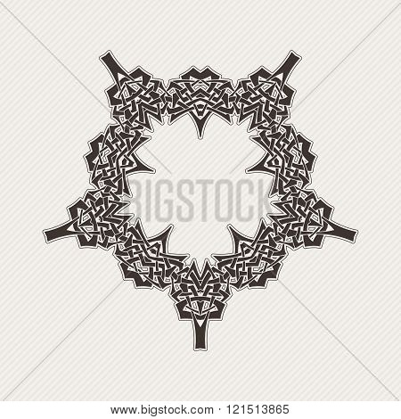 Vector ornate border. Gothic lace tattoo. Celtic weave with sharp corners.