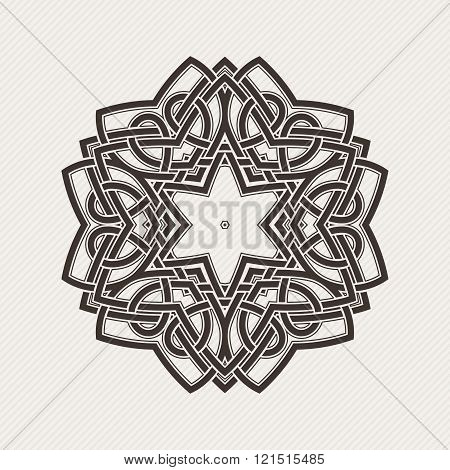 Vector mandala. Gothic lace tattoo. Celtic weave with sharp corners.
