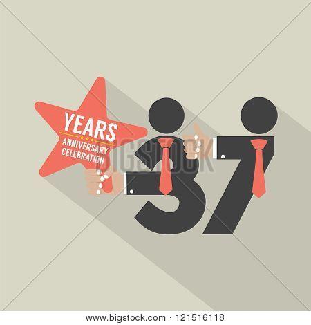 37 Years Anniversary Typography Design.