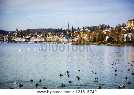 Fascinating view of Lucerne Lake in Switzerland