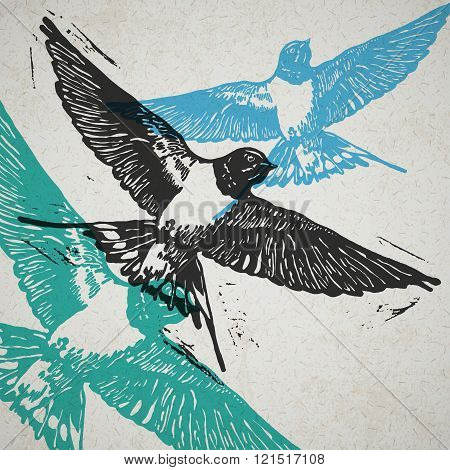 Vector Swallows In Abstract Composition