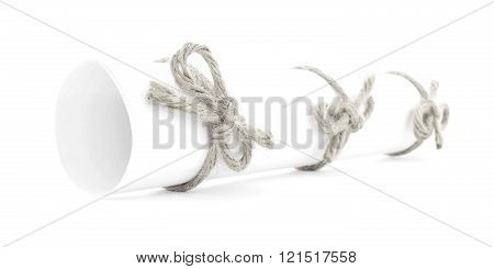 White Letter Roll Tied With Rope, Three Natural Nodes Isolated