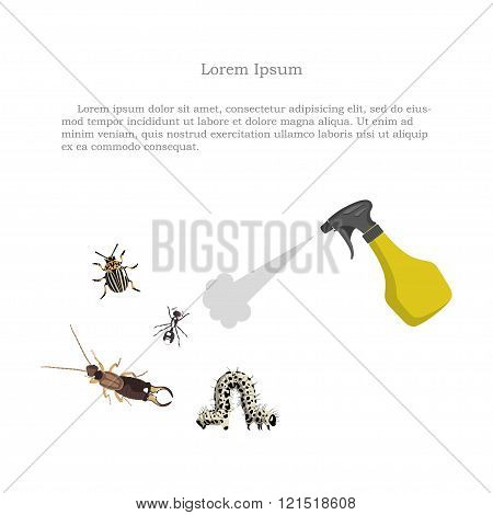 Pest Control. Figure Of Garden Pests And Sprayer On A White Background
