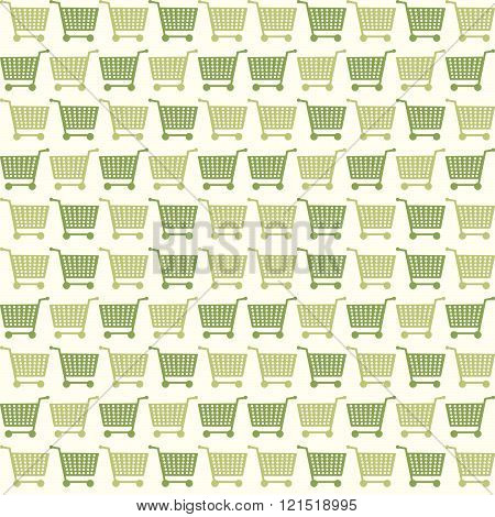 Seamless Eco Shopping Cart Pattern Background