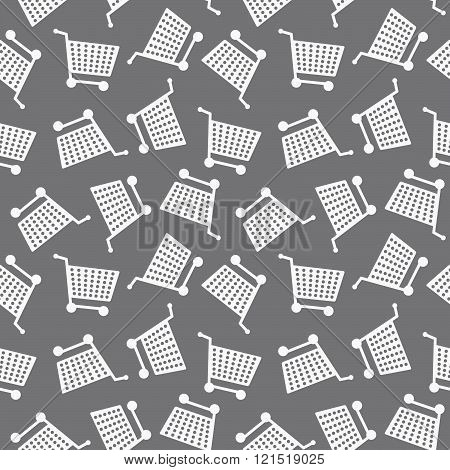 Seamless Shopping Cart Pattern Monochrome Background