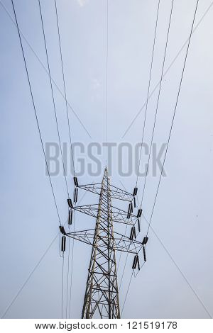 perspective of power cable and high voltage tower in cloudy sky