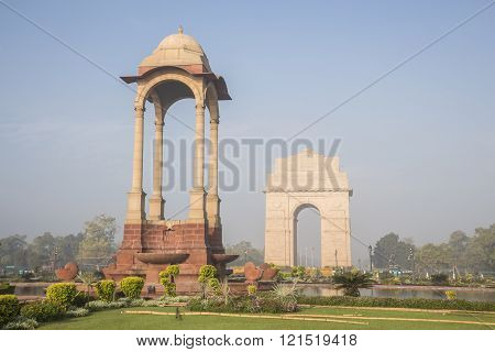 scene of canopy and India Gate in morning at rajpath, New Delhi, India