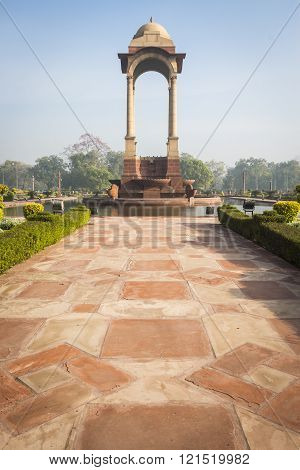 architecture of walk way and canopy at India Gate Rajpath New Delhi India