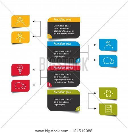 Vecrtical color flowchart scheme, diagram. Infographics vector.