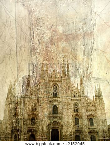 The facade of Duomo in Milan, Italy