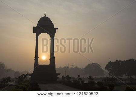silhouette scene of canopy of India Gate in sunrise at rajpath New Delhi India