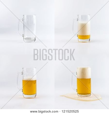 Set Of Four Beer Glasses. Filling Glasses With Beer Sequence